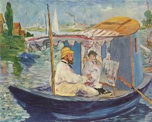 Portrait de Claude Monet peignant sur son bateau-atelier