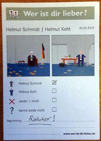 Stimmzettel Schmidt vs. Kohl